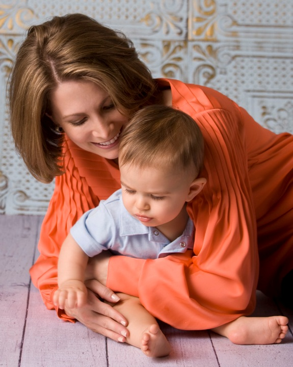 Shannon Miller hugging son, Rocco.