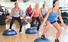 Group exercising at a Gym.