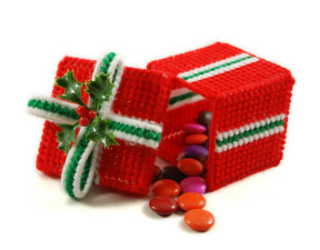 Handmade holiday gift with candy.