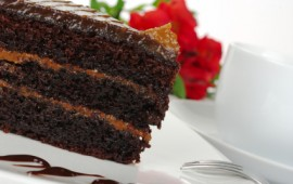 Slice of chocolate layer cake - OK in a balanced lifestyle.