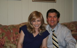 Shannon in a blonde wig, and her husband